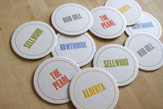 PORTLAND Letterpress Neighborhood Coasters (Pack of 10) by moontreepress