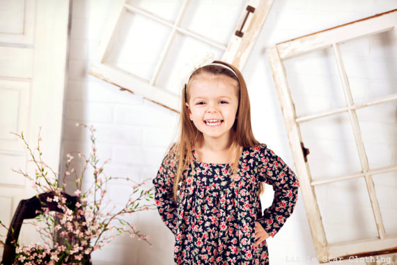 girls dress – prairie long sleeve in black floral – Ready to Ship by LittleStarClothing