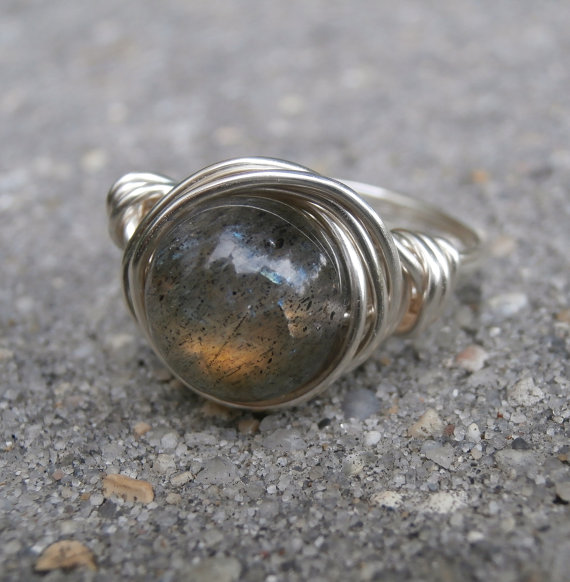 Labradorite Ring, Handcrafted Silver, Gold Flash Chatoyant Gemstone Jewelry, Silver Wire Wrap, Beautiful Stone, Gray Rings, Size 6 1/2 by Meditations