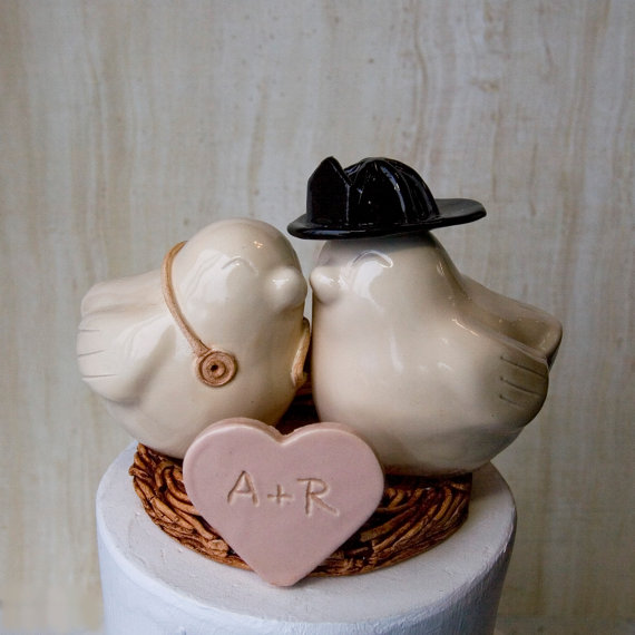 Firefighter and Nurse Cake Topper by DanceswithClay