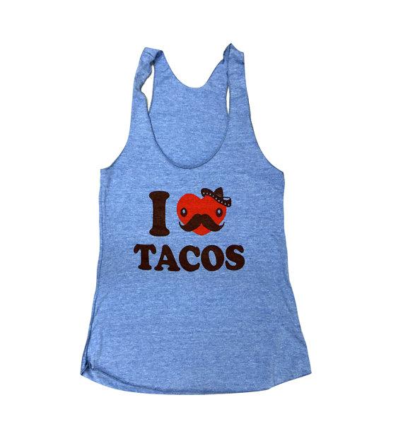 I LOVE TACOS Tank Top – Taco Sleeveless Shirt – (Ladies Sizes S, M, L,) by theboldbanana