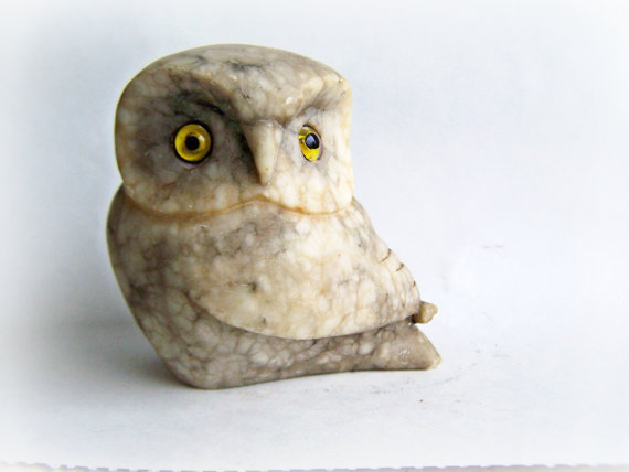 Vintage Owl Collectible Owl Figurine Single Stone Carved Owl Signed Sculpture Rock Owl with Glass Eyes, was 38.50 ON SALE by papercherries