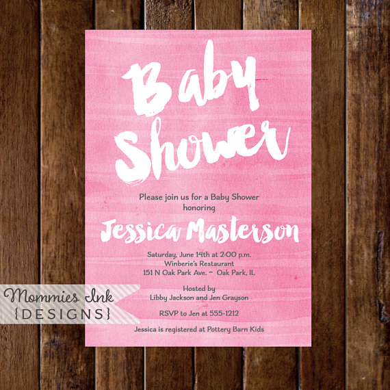 Pink Watercolor Baby Shower Invitation, Shower Invite, Shower Invitation, Pink Watercolor Invitation, Watercolor Texture Invite, It's a Girl by MommiesInk