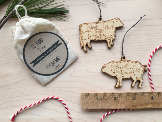 Pork and Beef Christmas ornaments or gift tie on by uncommon