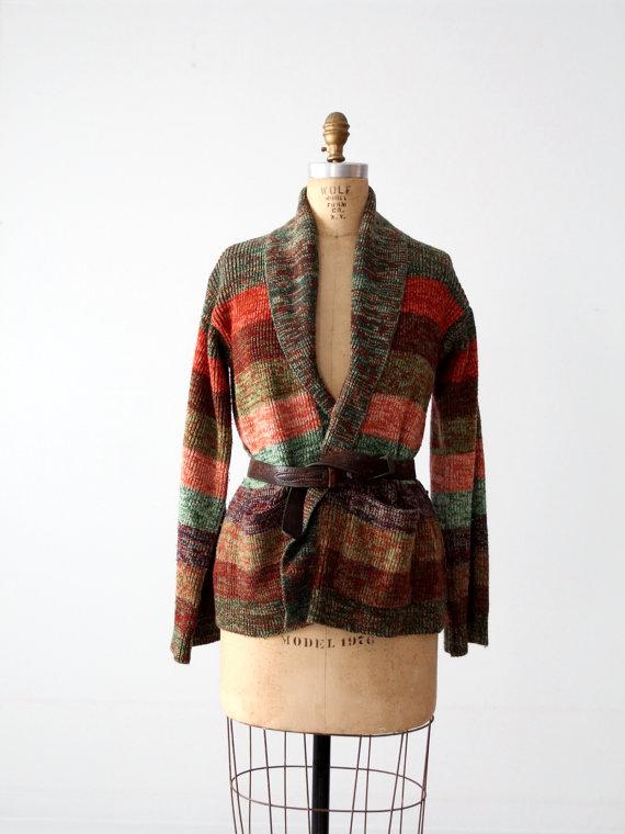 vintage 70s hippie cardigan, striped knit sweater by 86Vintage86