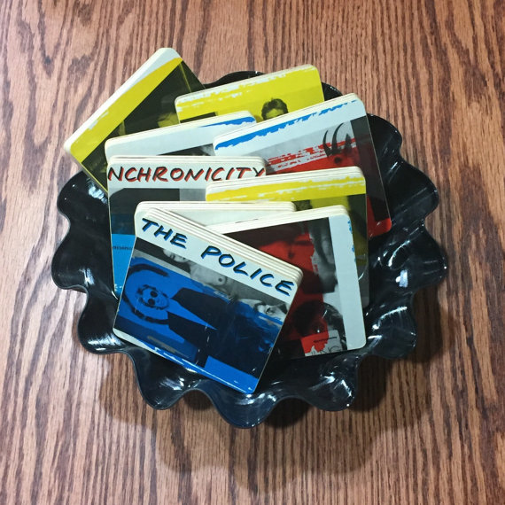 POLICE recycled Synchronicity music album cover coasters with record bowl by RecycledAlbumArt