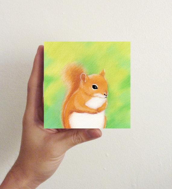Miniature Squirrel Art / Mini Art Block – Nursery art, kids room decor by millersye