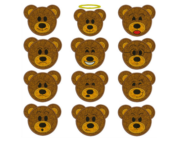 EMOTE BEARS – Machine Applique Embroidery – Instant Digital Download by embroiderquilt