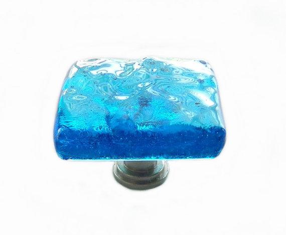 Sea Glass Knob in Deep Turquoise Ocean Wave. Unique Art Glass Cabinet Hardware in Oceanic Colors by UneekGlassFusions