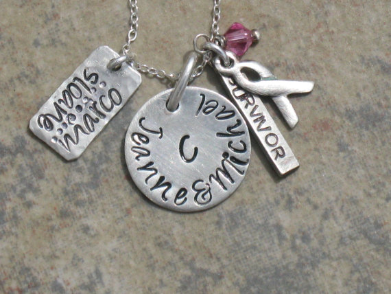 "Hand Stamped Breast Cancer Survior Charm Jewelry ""Family of Strength"" Necklace Sterling Silver Handmade by HammeredLoveLetters"