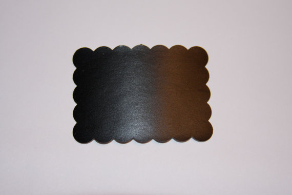 Set of 10 Chalkboard Tag Sticker Labels, Scalloped Rectangle by bugaboo