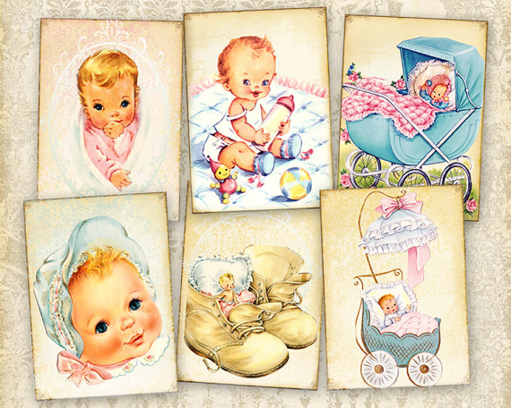 Vintage baby cards Greeting cards Gift tags Digital cards on Printable digital collage sheet best for paper craft, scrapbook – BABY CARDS by FrezeArt