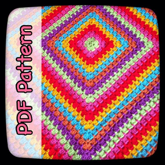Rainbow Burst Crochet Blanket – PDF Crochet Pattern – Digital Download – CHART – From The Middle – Granny Square – Blanket – EssHaych by EssHaych