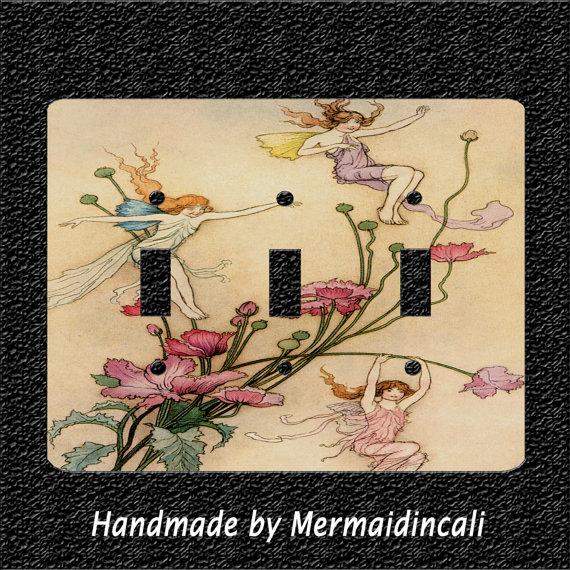Triple Light Switch Plate Cover- A Fairy Revel by Mermaidincali