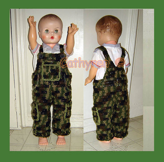 Baby Camouflage Overall, Buttons at legs for easy change – DoINSTANT DOWNLOAD Crochet Pattern by CathyrenDesigns