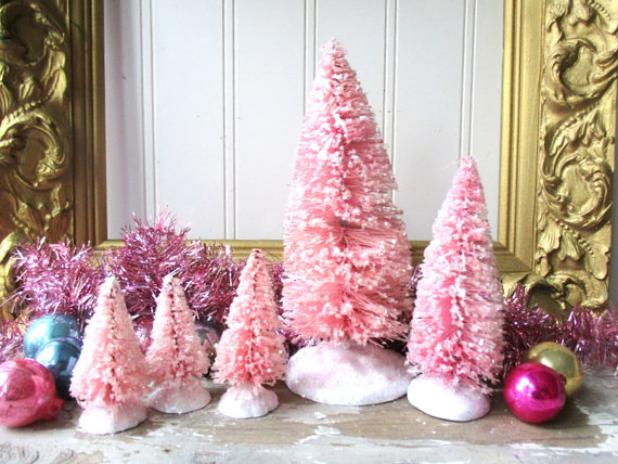 5 Pink bottle brush trees Vintage Style Frosted Glittered Mica Christmas Valentine Romantic Chic decor by hopeandjoystudios