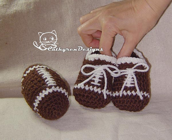 Baby Football Booties and Toy Football – INSTANT DOWNLOAD Crochet Pattern by CathyrenDesigns