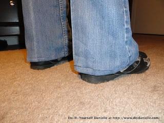 Hemmed jeans.