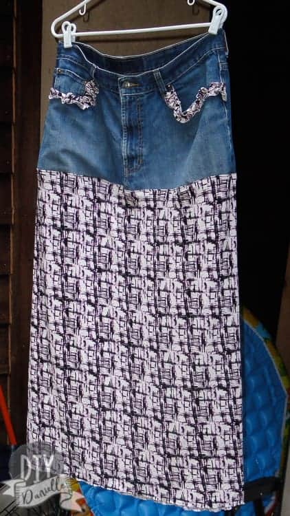 Boho skirt made with a jean waistband. This half jean skirt is super cute!