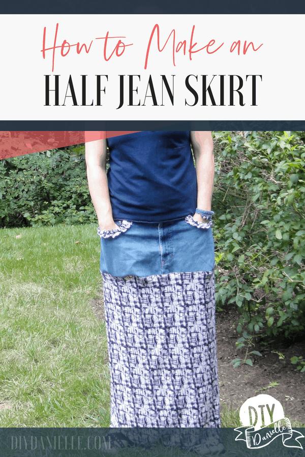 Half denim skirt made from an old jean waistband. Super cute!