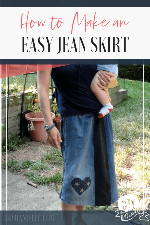 This easy patchwork denim skirt tutorial is the perfect item to make with old jeans! Jean skirts are the BEST!
