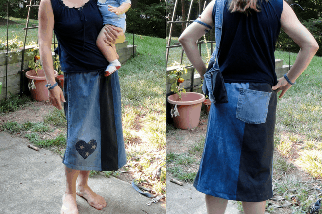 Front and back view of a jean skirt made from old jeans.