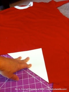 Red teeshirt that I upcycled to make the banner.