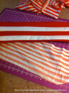 The fabric underneath is a striped cotton fabric that I'm using for the lining of the hat.