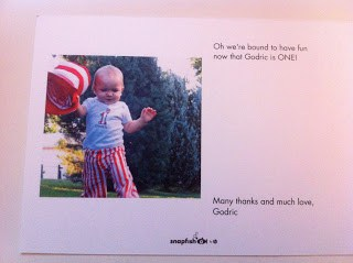 Back of photo thank you card.