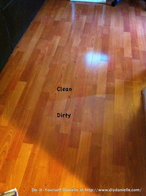 Before/after photos from laminate floor spray.