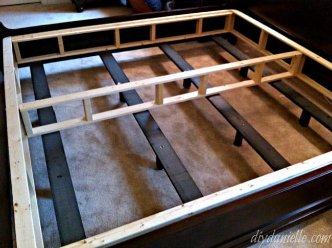 Partially put together box spring from a kit.