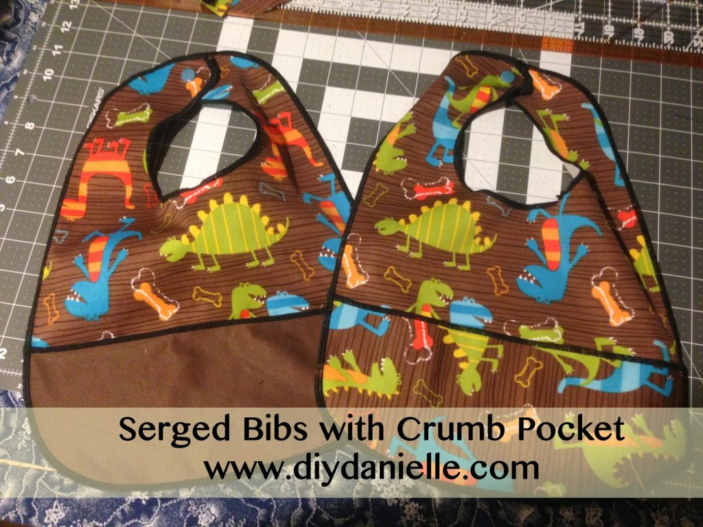 how to use a serger to make easy bibs with crumb pockets