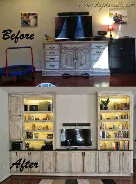 Before and after we built our built-in entertainment center.