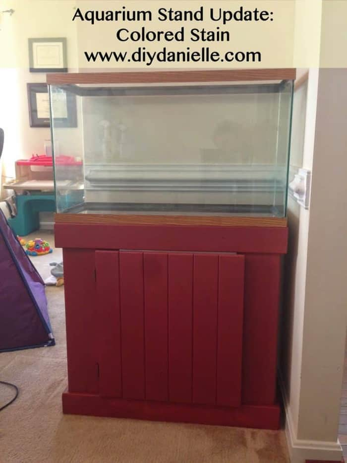 Using colored stain on my aquarium stand to update it.
