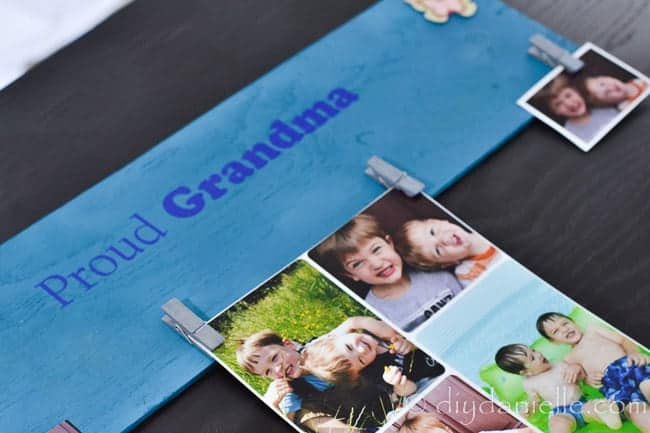 Photo display for Grandma as a Mother's Day gift. This has clips to hold pictures of the grandchildren.
