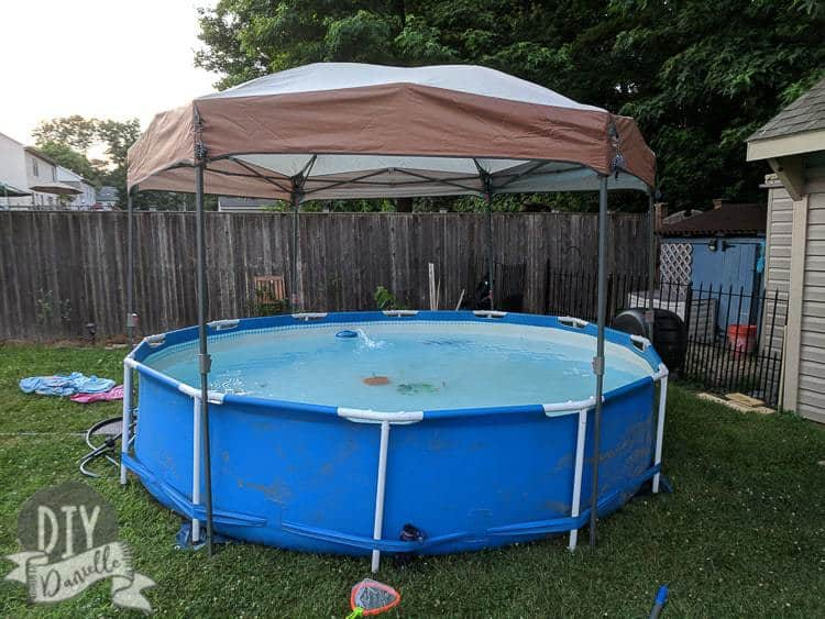 Pool with canopy over it for shade.