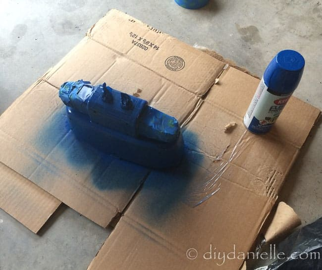 Accessories spray painted blue.
