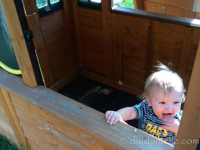 Flooring placed inside an outdoor playhouse to prevent mud.