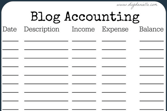 Accounting form for blogging.