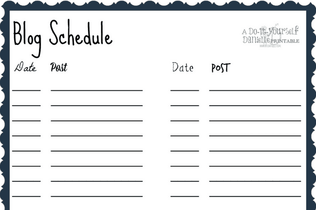 This blog schedule printable allows you to track when you have posts going out.