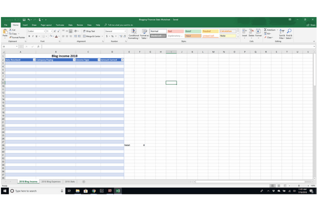 Free Excel worksheet for bloggers to track income, expenses, and stats.