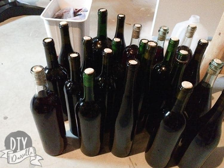 Wine bottles filled and corked.