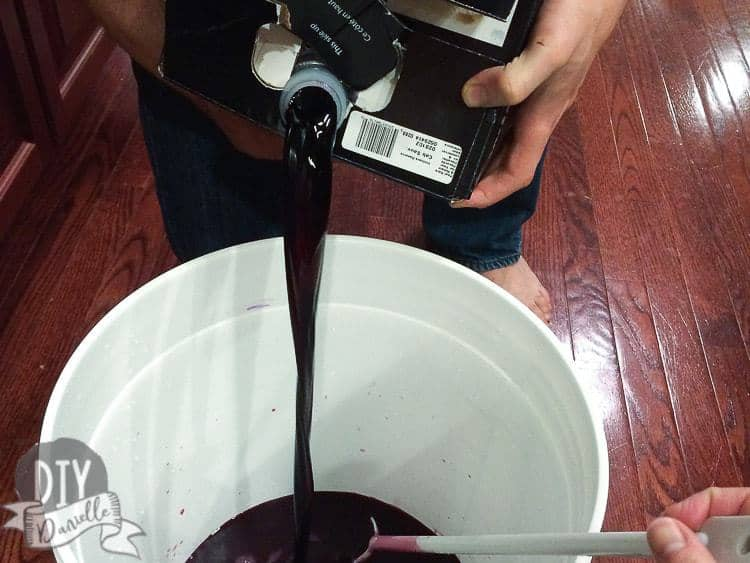 Making wine from a homemade wine kit.