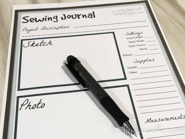 Tracking sewing projects using a sewing journal.
