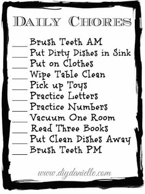 Check out this free printable if you would like an easy to use toddler chore checklist. Help engage your child in daily chores and make it part of your routine early to avoid struggles when your child is older.