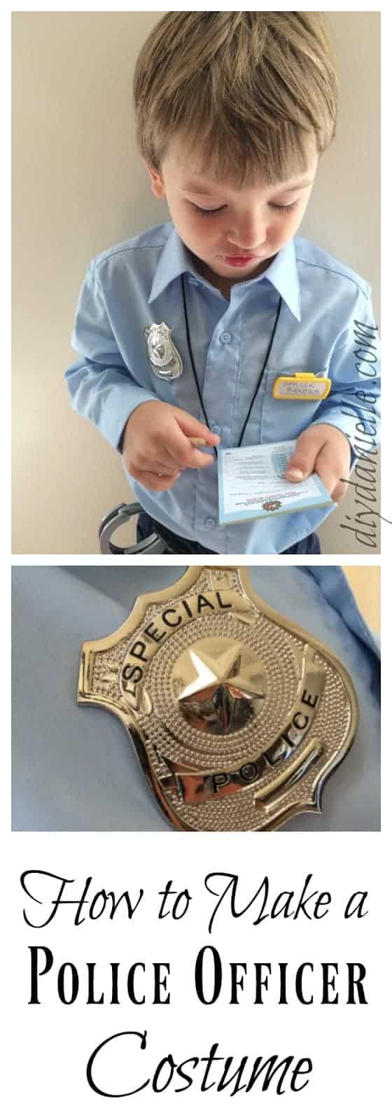 DIY cop officer costume for kids!