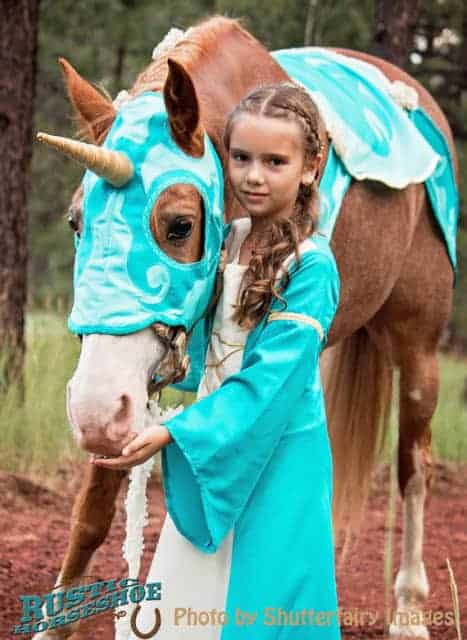 Dress up your horse as a unicorn and your child/yourself as a maiden. Every girl's dream Halloween costume (or just mine?).