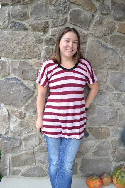 How to sew your own adult shirts for women. This was a very easy pattern and fun to put together. I used knit fabric and ribbing. #sewing