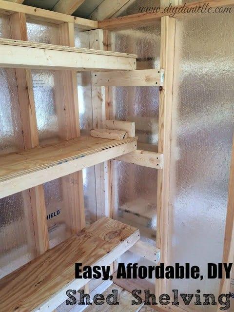 Easy Affordable DIY Shed Shelves.