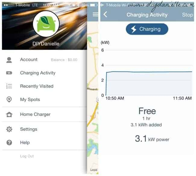 Using Chargepoint app for charging an electric vehicle.